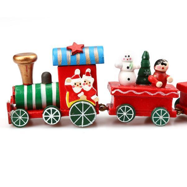 Cute Wooden Charming 4/6/7 Piece Christmas Train Santa Tree Ornament Decor Gift