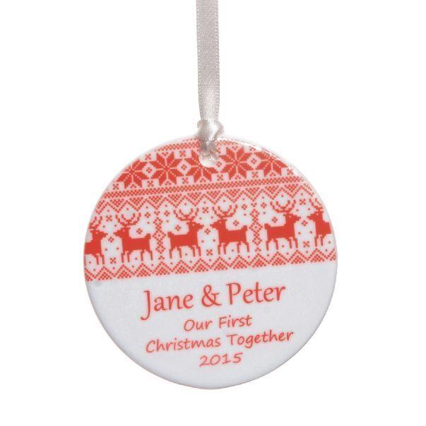 Reindeer Personalised Ceramic Christmas Tree Decoration