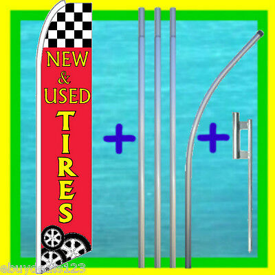 New Used Tires Advertising Feather Flag 15 Tall Pole Kit Swooper Bow Banner