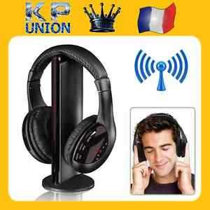 casque audio pour pc 5 en 1 sans fil ecouteurs hi fi radio. Black Bedroom Furniture Sets. Home Design Ideas
