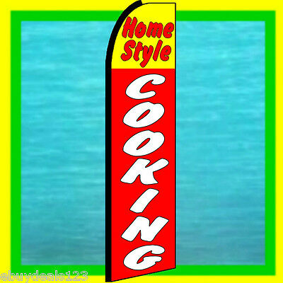 Home Style Cooking Swooper Flag Food Advertising Sign Feather Flutter Bow Banner
