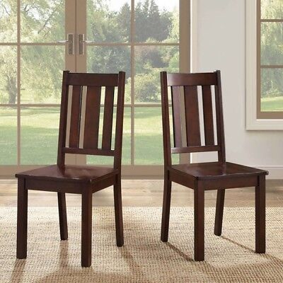 Espresso Mocha Dining Chairs ( Set of 2 ) Kitchen Wood Furniture Mission Style (2 Mission Style Chairs)