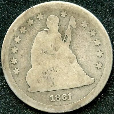 1861 (G) 25C SILVER SEATED LIBERTY QUARTER
