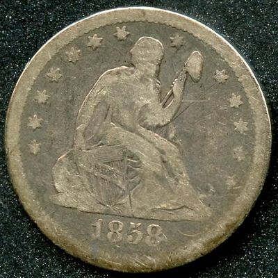 1858 (VG) 25C SILVER SEATED LIBERTY QUARTER