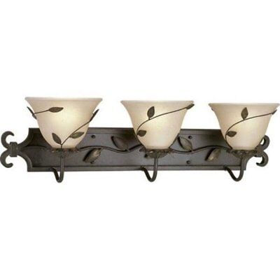 Progress Lighting Eden 3 Light Bath Wall Vanity Amber Linen Glass Forged Bronze