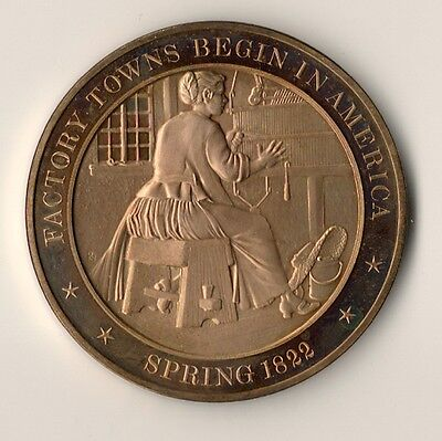 *1822 Factory Towns Begin In America. Franklin Mint Solid Bronze Medal