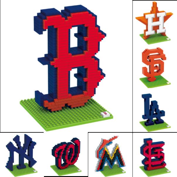 MLB Baseball 3D BRXLZ Logo Puzzle Construction Block Set - Pick Team!