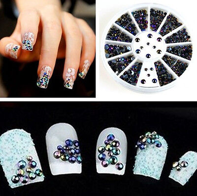 MIXED COLOR 3D Nail Art Tips Crystal Glitter Rhinestone Pearl Decoration+Wheel  on Rummage