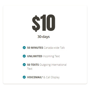 Public Mobile Plan starting $10 per month, $25 activation credit