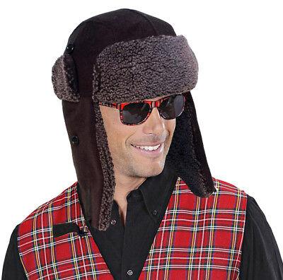 Fleece Walking Hat - Mens Warm Trapper Hat Fleece Black Fully Lined Walking Hiking Ski Head Wear NEW