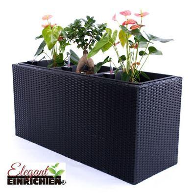 Pflanztrog Blumentrog Rechteckig Übertopf Raumteiler Polyrattan106x40x60 schwarz