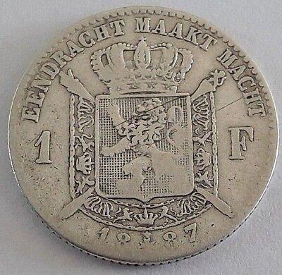 ===>>> 1 Franc 1887 1 Frank Leopold II Belgique Belgïe FR NL <<<===
