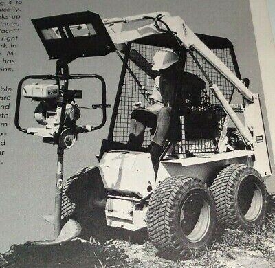 Bobcat M-371 Skid Loader Ground Hog Earth Drill Spec Sheetbrochure Auger Digger
