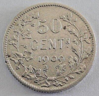 ===>>> 50 centimes 1909 50 cents  Leopold II  Belgique Belgïe FL SUP <<<===