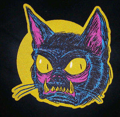 Black Cat On Halloween (PATCH - Black Cat - HORROR / Monster / Halloween - Woven patch - iron-on)