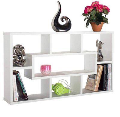 Stylish Floating Wall Shelves Display Shelf Bookshelf 7 Storage White Unit