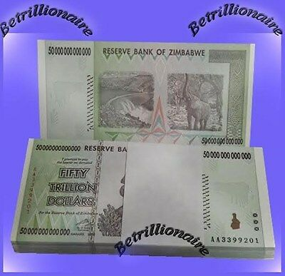 50 TRILLION ZIMBABWE DOLLAR MONEY CURRENCY.UNC*FULL BUNDLE* USA SELLER*100 notes