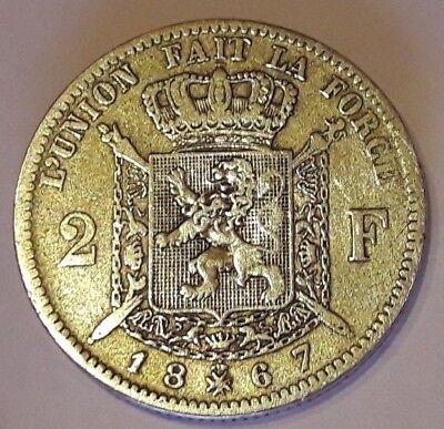 2 Francs frank 1867 FR Z.Fraai / Prachtig LEOPOLD II Belgique Belgïe Belgium TTB