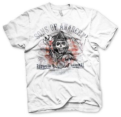 ood Original Distressed Grim Reaper Männer Men T-Shirt Weiss (Sons Of Anarchy T-shirts)