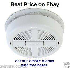 2 x BRK Dicon 670MBX Smoke Alarm Mains/Battery Back Up with free bases