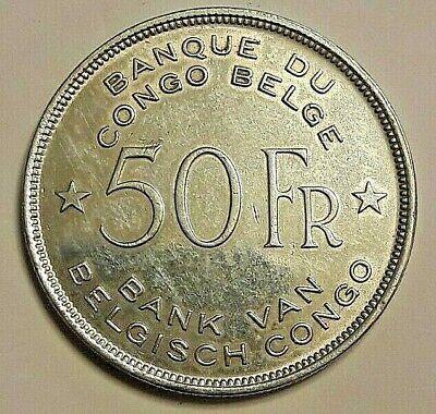 ==>> Belgisch Congo 50 Francs Congo belge 1944 Éléphant Argent KM# 27 <<=== Rare
