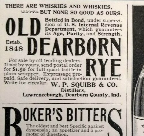 1897 Old Dearborn Rye Whisky Lawrenceburgh Indiana W.P. Squibb Vintage Print Ad