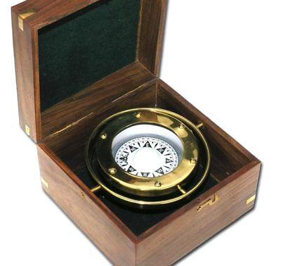 Nautic Kompass aus MESSING Aufhängung kardanisch 11cm + Massivholzbox 9063