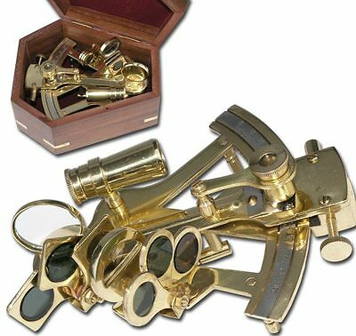 Nautic Sextant aus MESSING 12,5cm + Massivholzbox 9050
