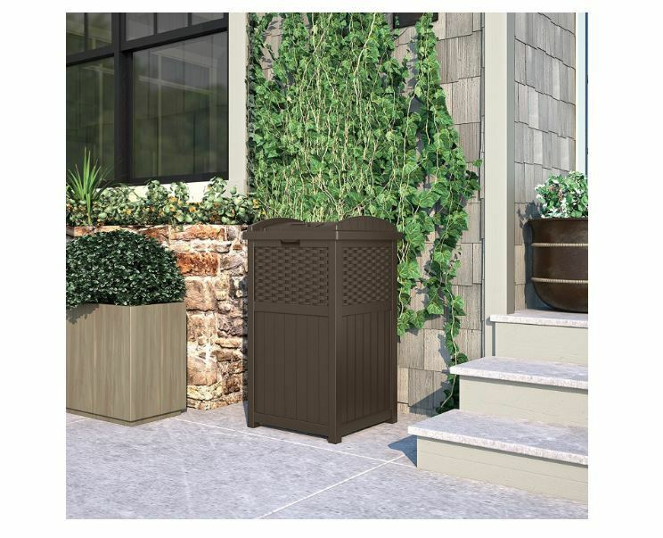 Outdoor Patio Garbage Can With Lid Furniture Set Wicker Deco