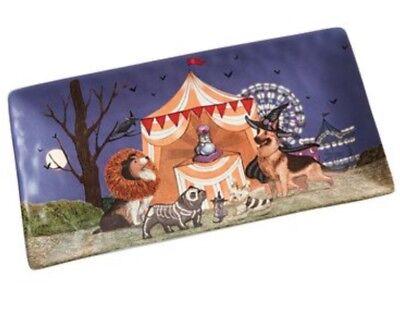 Pier 1 PARK AVENUE PUPPIES Halloween Platter Cats & Dogs German Shepherd NWT