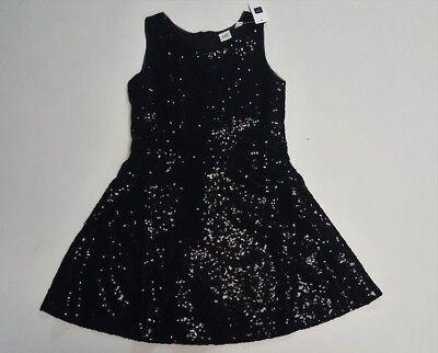 NWT Gap Kids Girls Black Sequin Party Dress Sz M/ 8-9 Retail $68
