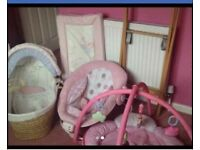 £40, Moses basket, bouncer, changing mat and play gym. All from smoke free home, good condition