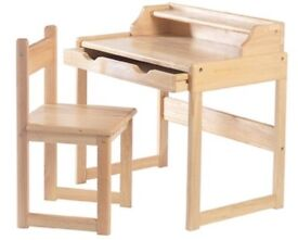 Childrens solid wood desk and chair set in pine, excellent condition