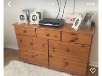 Solid oak pine chest of drawers
