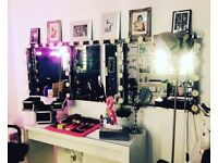 Hollywood style mirror and lights