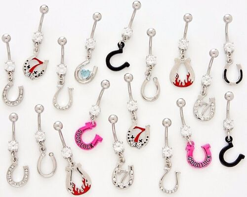 10 CZ Dangle Belly Button Rings 14g Gem Stone Body Jewelry Assorted Naval Fancy