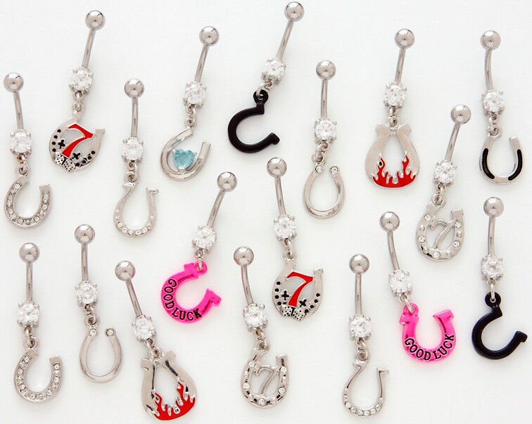 *SPECIAL PURCHASE* 10pc Horse shoe Mix Belly Rings wholesale navel naval lucky