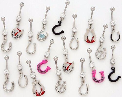 25 Assorted Horseshoe Fancy Dangle Belly Rings WHOLESALE Lot Body Jewelry CZ Gem