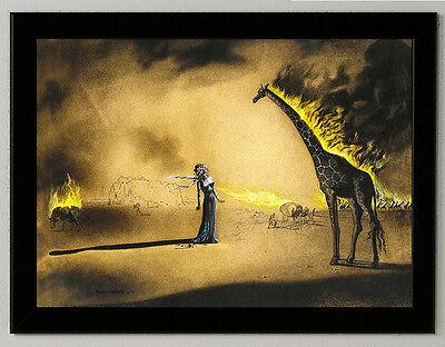 Salvador Dali Burning giraffe giclee 8.3X11.7 canvas print framed reproduction  ()
