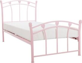 Single three heart pink bed with mattress