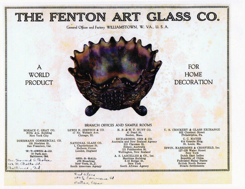 Fenton Carnival Glass catalog reprint, ca. 1907-1910