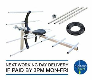 4G Kit Caravan TV Aerial + 9ft 3 Section Mast 10m Cable Digital Freeview Antenna