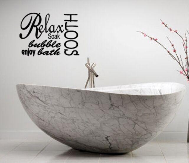 Bon RELAX SOAK SPA BATHROOM RULES LETTERING BATH WORDS VINYL DECOR DECAL WALL  ART
