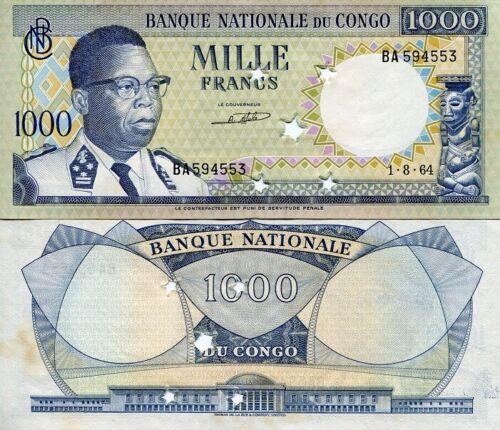 CONGO DEMOCRATIC REPUBLIC P-8a 1000 FRANCS 5x STAR CANCELLED OFFICIALLY AU-UNC!