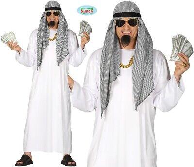 Herren Falsch Scheich Maskenkostüm Arabischer Scheich Outfit Neu Fg