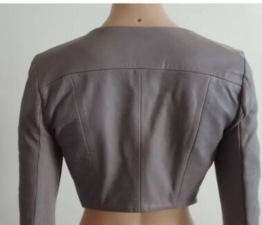 Kookai taupe cropped leather jacket size 34 AU size 6  3805b9319