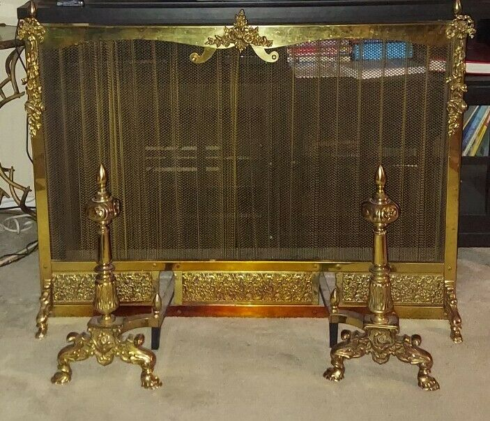 Was $895 French Provincial Style Pierced Brass Fireplace Mesh Screen w/ Andirons