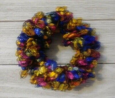 Orange & blue ribbon hair scrunchie pony tail holder crochet knit handmade new  for sale  Shipping to India