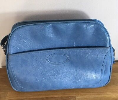 Vintage Samsonite Scandia Overnight Carry On Blue Travel Adjustable Strap Bag