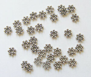 50-Metal-Antique-Silver-Colour-Flower-Spacer-Beads-6-5mm